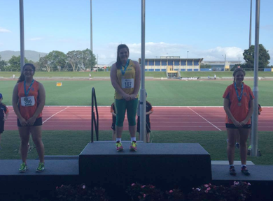 Julia Bourke after taking out the IAAF Oceania Games Shot Put Title