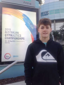 Hudson Irwin at site of 2015 national Gymnastics Championships