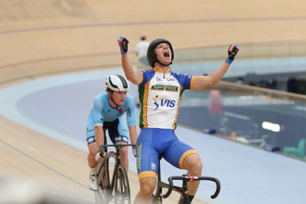 Graeme Frislie crossing the line first at the Cycling Australia Track National Championships